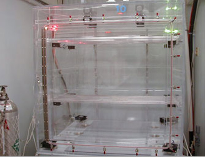 We have 10 chambers to perform mixed flowing gas testing. Here is our large test chamber, with a volume of 64 cubic feet..